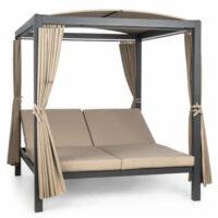 Kovová záhradná posteľ pre 2 osoby s baldachýnom a závesmi