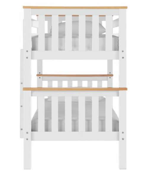 Biela poschodová posteľ s hnedými detailmi