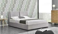 Čalúnená svetlosivá manželská posteľ s úložným priestorom