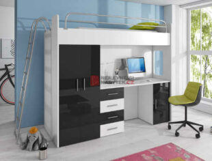 Čiernobiela multifunkčná poschodová posteľ so šatníkovou skriňou a PC stolíkom