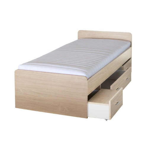 Detská posteľ 90×200 cm v prírodnom dekore so zásuvkami