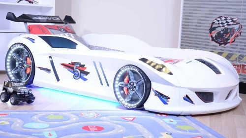 Detská posteľ biele pretekárske auto Speedy so svetlami a zvukmi