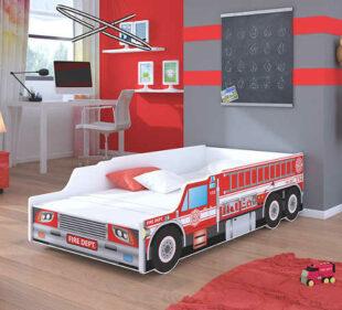 Detská posteľ v originálnom dizajne hasičského auta