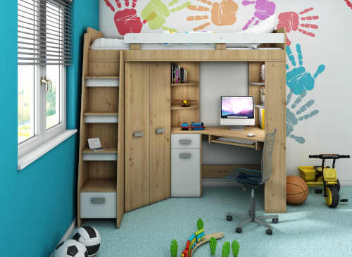 Drevená poschodová multifunkčná posteľ