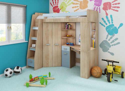 Drevená posteľ v multifunkčnom dizajne