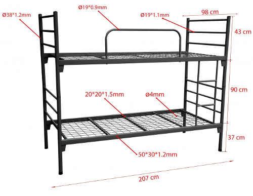 Kovová patrová posteľ pre deti a dospelých