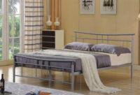 Kovová posteľ v striebornej farbe 160×200