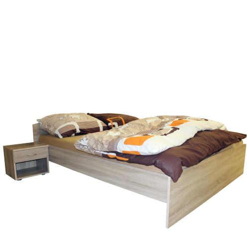 Laminátová posteľ v dekore duba