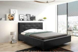Manželská posteľ 180×200 cm v čiernom čalúnení