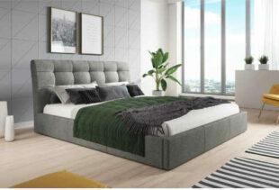 Moderná manželská čalúnená posteľ v nadčasovom dizajne