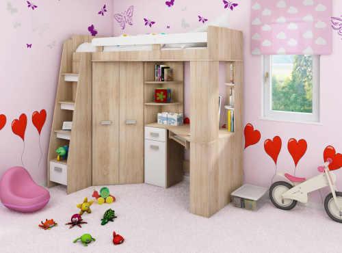 Multifunkčná drevená poschodová posteľ do malého interiéru