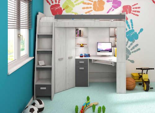 Poschodová posteľ z dreva do malého interiéru