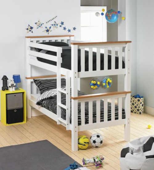 Poschodová rozkladacia posteľ v bielo-hnedej farbe