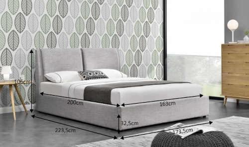 Sivá čalúnená moderná manželská posteľ