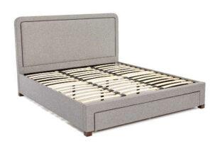Sivá manželská posteľ v škandinávskom štýle